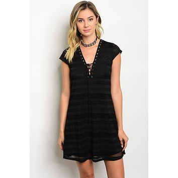 Ladies Fashion V-Neck Lace Up Front Cap Sleeve Skater Dress (c)