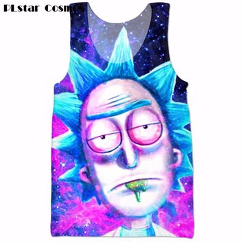 PLstar Cosmos 2017 summer New Style casual Fitness Tank Tops Cartoon Funny rick and morty 3d print Men Women Hipster Vest tops
