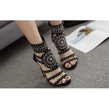 Fashion Hot Selling Women's Shoes with Open Toes, Water Diamonds and Super High-heeled Sandals