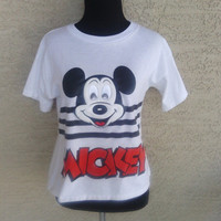 RARE Vintage Mickey Mouse shirt White black red t shirt cotton  Disney unique rare Plastic emblem with moving eyes size large - 14 -16