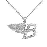 """Luxury Car Logo B Pendant Full Iced Out Angel Wings 1.5"""" Free Necklace 24 Inch"""