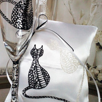 Hand painted Satin white ring bearer pillow Cats in Black and White lace personalized wedding favor