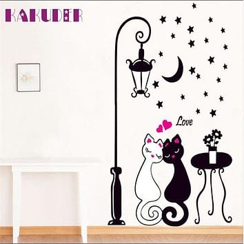 KAKUDER New Arrival Cat Wall Sticker For Kids Room Lamp and Butterflies Stickers Decor Decals Removable Cartoon lovely