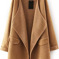 Khaki Long Sleeve Sweater Coat