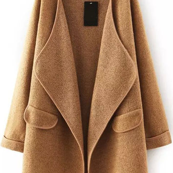 Fall Fashion Khaki Lapel Long Sleeve Loose Sweater Coat
