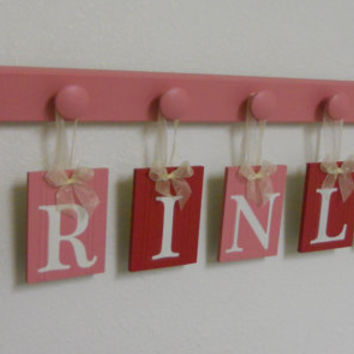 Pink and Red Baby Girl Nursery Name Sign Includes Personalized Alphabet Wall letters and 7 Wooden Hooks Pink. Custom for BRINLEY