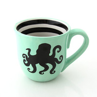 Octopus Mug, Large Mug, Seafoam Green with black stripes, nautical, beach house, summer