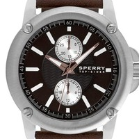 Men's Sperry Top-Sider 'Intrepid' Multifunction Leather Strap Watch, 42mm - Brown/ Silver