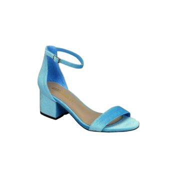 Trending Mid High Block Heel Sandal, Blue