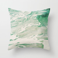 Pillow Cover, Bungalow Surf Decor Aqua Marine Ocean Waves Throw Pillow, Mint Green White Sea Foam Ocean Waves Room Accent, 16x16 18x18 20x20