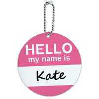 Kate Hello My Name Is Round ID Card Luggage Tag
