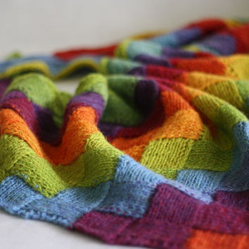 Hand knit shawl, knit scarf, technique Entrelac, shawl Estonian,  Estonian yarn, Rainbow color, shawl entrelac, spring modern clothing
