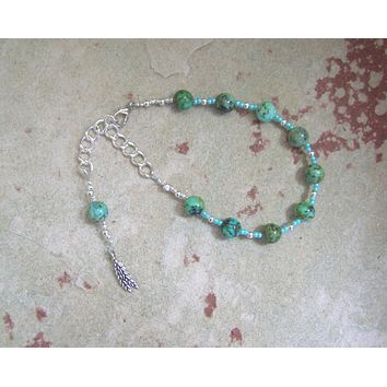 Sif Prayer Bead Bracelet in African Turquoise: Norse Goddess of Abundance and Fertility