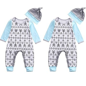 0-18M Newborn Baby Boys Girls Clothes Long Sleeve Arrows Cotton Romper + Hat 2pcs Bebes Clothing