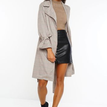 No Doubt Plaid Trench Coat - Taupe