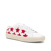 Saint Laurent Court Classic Leather Sneakers in Rouge & White | FWRD