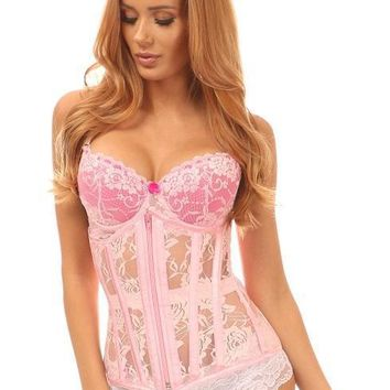 Daisy Corsets Lavish Lt Pink Sheer Lace Under Bust Corset
