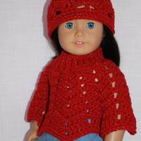 3 piece set, 18 inch doll clothes, doll red sparkle crochet hat & poncho,  Upbeat Petites