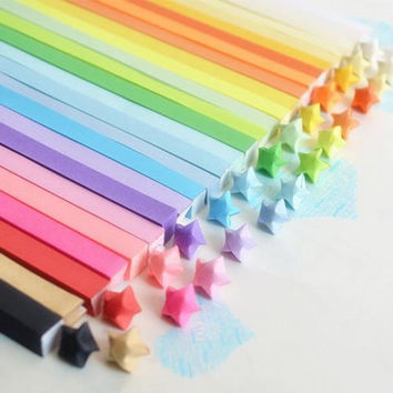 Folding Origami Star Paper / Lucky Star Assorted / Favour Strips 10 Colors Mixed / Rainbow Plain 80 Stripes