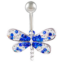 Girls Crystal-Encrusted Dragonfly Non-Dangle Sapphire Crystal Belly Button Ring [Gauge: 14G - 1.6mm / Length: 10mm] 316L Steel Casting & Crystal