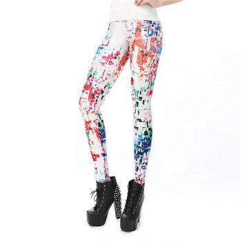 Glitch Women's White Slim High Waisted Elastic Printed Fitness Workout Leggings