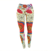 "Louise Machado ""Charming Floral"" Floral Multicolor Yoga Leggings"