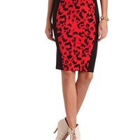 Leopard Panel Cotton Midi Skirt: Charlotte Russe