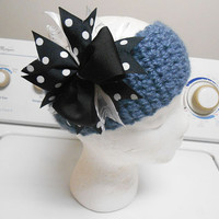 Smokey Blue Crochet headband with pinwheel bow fits kids and adults
