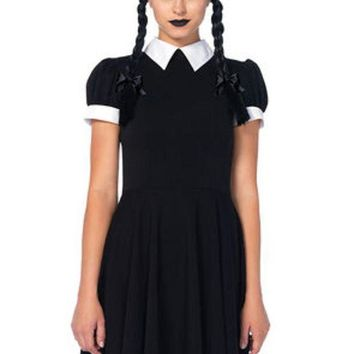 The 2pc. Gothic Darling Classic Collared Dress Braided Wig W/bows In Black And White