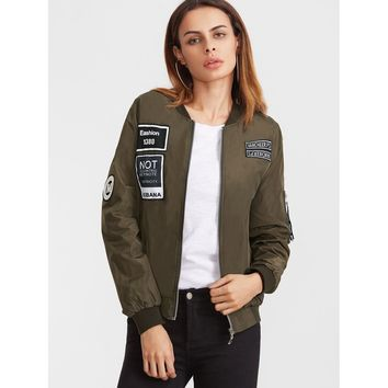 Army Green Embroidered Patch Zipper Flight Jacket