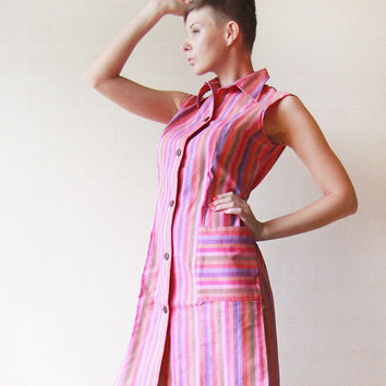 Colorful vertical striped linen sleeveless shirt dress