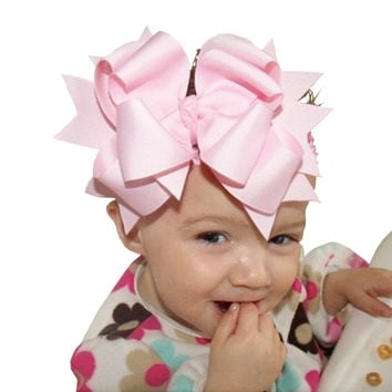 Infant's Oversized Grosgrain Ribbon Bow Headband With Clip in 12 Colors