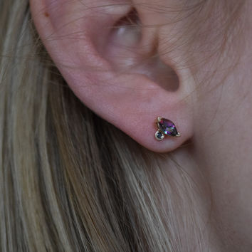 Mystic Topaz and Black Diamond Deco Studs