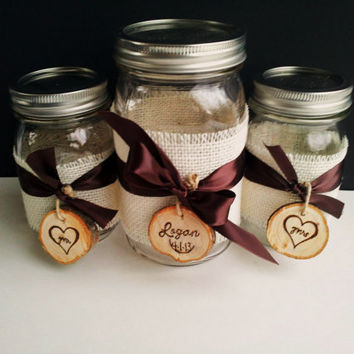 Rustic Country Wedding Sand Unity Ceremony Mason Jar Set