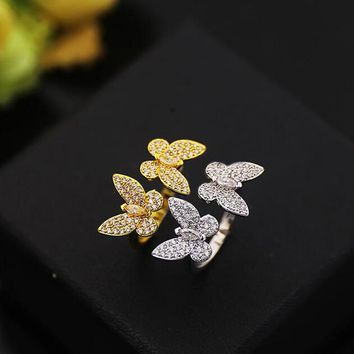 AAA Quality Fashion Adjustable Free Ring Micro Pave Premium Zircon Crystals Butterfly Rings Wedding Luxury Jewelry for Women