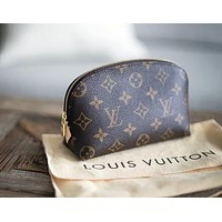 "LV Hot 2018 ! ""Louis Vuitton"" Stylish Leather Travel Make Up Bag Portable Zipper Cosmetic Bag Purse Wallet Handbag I-MYJSY-BB"