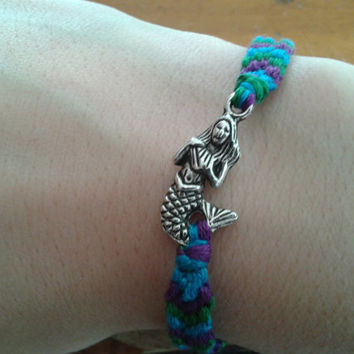 Custom Color Friendship Bracelet with Mermaid and Seahorse Charm - choose your own colors
