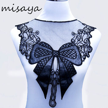 1pc Misaya Black Embroidery Venise Spikes Bowknot Lace Neckline Fabric DIY Collar Lace Fabrics For Sewing Supplies Crafts