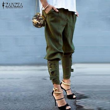 ZANZEA 2016 Fashion Women Harem Pants Casual Loose Pockets Elastic Waist Pants Leisure Army Green Trousers Plus Size S-3XL