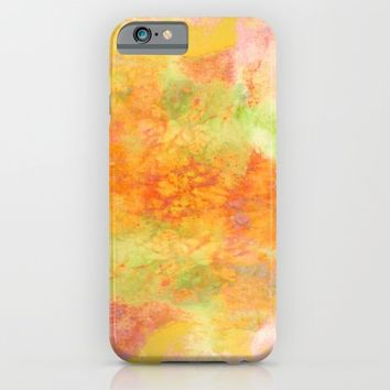 PASTEL IMAGININGS 3 Colorful Pretty Spring Summer Orange Yellow Peach Abstract Watercolor Painting iPhone & iPod Case by EbiEmporium