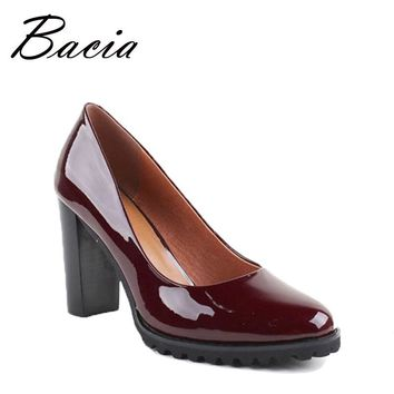 Bacia 100% Genuien Leather Pumps Wine Red Handmade Shoes 9cm Heels Office Lady High Quality Cowhide Patent Leather Shoes VB019