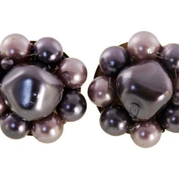 Vintage  Purple Tones Bead  Earrings Clip Backs 1950s Japan