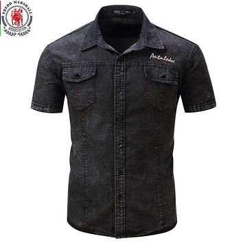 FREDD MARSHALL Brand New Shirt Men Short Sleeve Denim Shirt  Mens Casual Dress Male Jean Shirts High Quality Street wearing