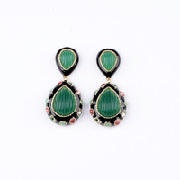 Green Drop Shape Rhinestone Earrings