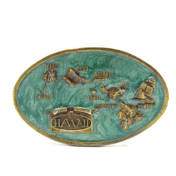 Hawaii Belt Buckle, Arroyo Grande Buckle Enamel 1984 Signed Souvenier Vintage Western Wear Fathers Day Mens Accessories Gift Ideas tropical