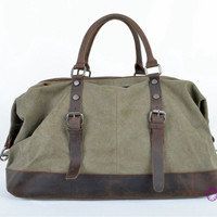 Army Green Real Leather Travel Bag/Messenger Bag