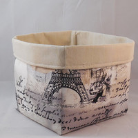 Pretty Cream And Black Paris Inspired Fabric Basket For Storage Or Gift Giving