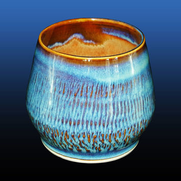 Hand thrown tumbler cup, this handmade 10 oz mug is made on a pottery wheel with blue and brown ceramic glazes, great gift idea