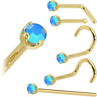 Solid 14KT Yellow Gold 2mm Caribbean Blue Austrian Crystal Nose Ring
