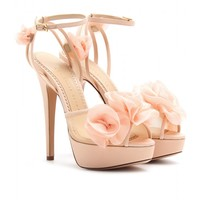mytheresa.com -  Fleur Platform Sandals With Organza Floral Embellishment  ∫ Charlotte Olympia » mytheresa.com - Luxury Fashion for Women / Designer clothing, shoes, bags